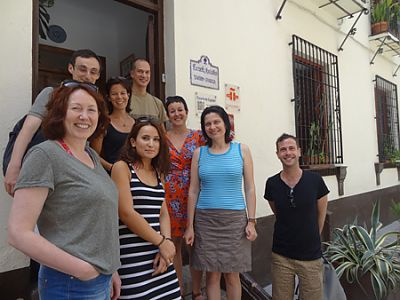 Spanish in Granada: students at the courtyard